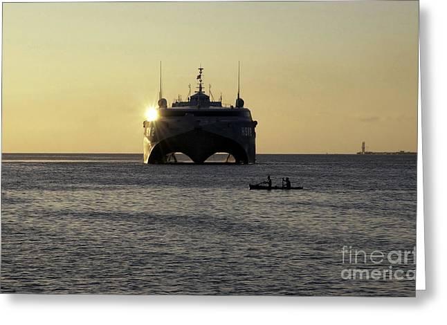 Fishermen Paddle Their Canoe Greeting Card by Stocktrek Images