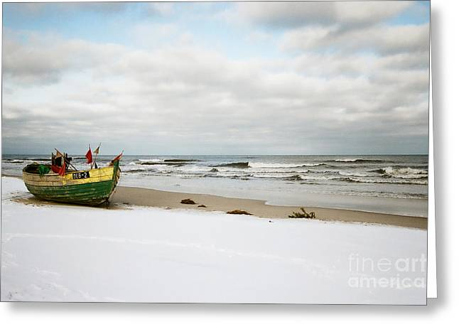 Greeting Card featuring the photograph Fishermen's Boat Waiting On A Beach by Agnieszka Kubica