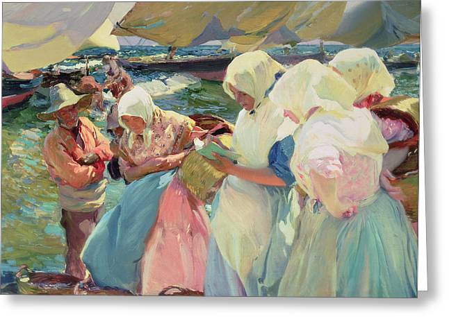 Fisherwomen On The Beach Greeting Card by Joaquin Sorolla y Bastida