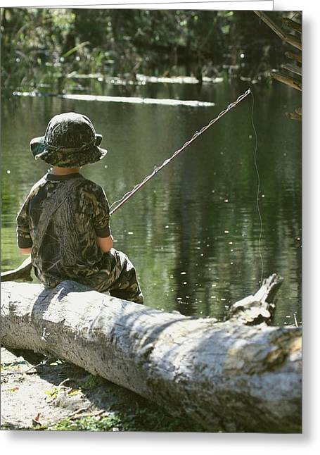 Greeting Card featuring the photograph Fishin' And Wishin' by Myrna Bradshaw
