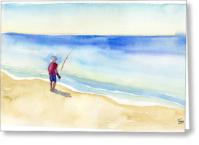 Fishing Alone Greeting Card by Catherine Twomey