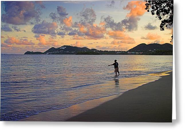 Greeting Card featuring the photograph Fishing At Dawn- St Lucia by Chester Williams