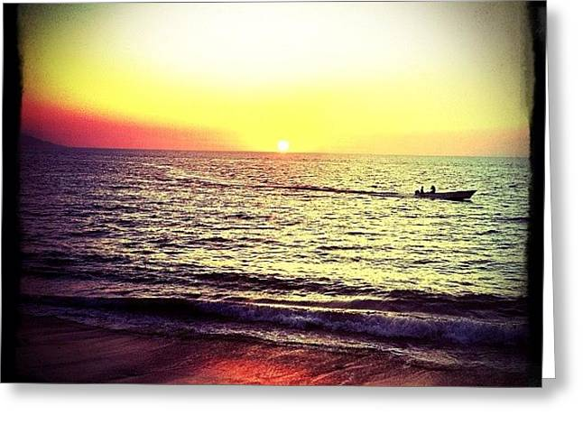 Fishing At Sunset (puerto Vallarta) Greeting Card by Natasha Marco