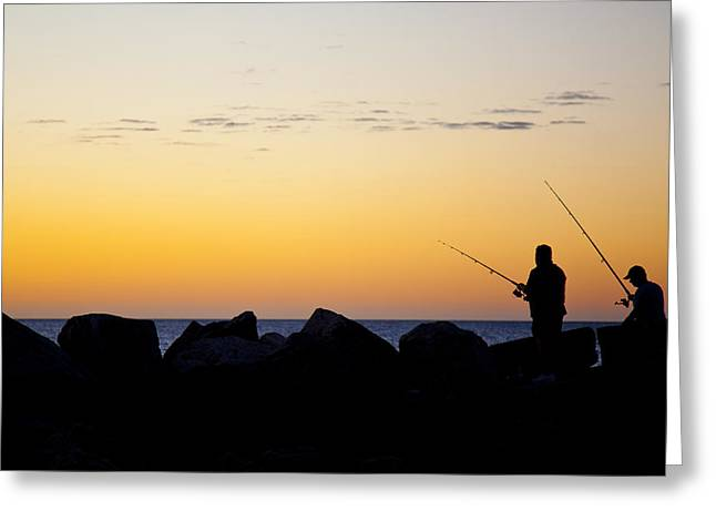 Greeting Card featuring the photograph Fishing At Sunset by Serene Maisey