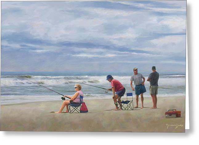 Fishing At The Beach Greeting Card by Norman Drake