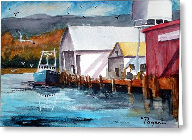 Fishing Boat And Dock Watercolor Greeting Card