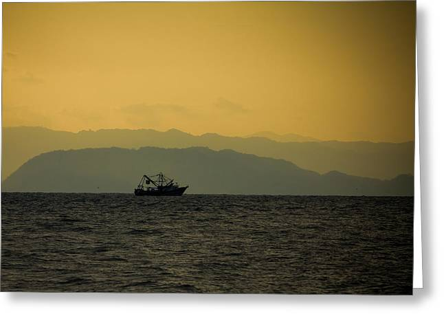Fishing Boat At Sunset Greeting Card by Anthony Doudt