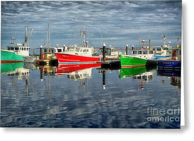 Fishing Boat Reflections At Macmillan Pier In Provincetown Cape  Greeting Card by Matt Suess