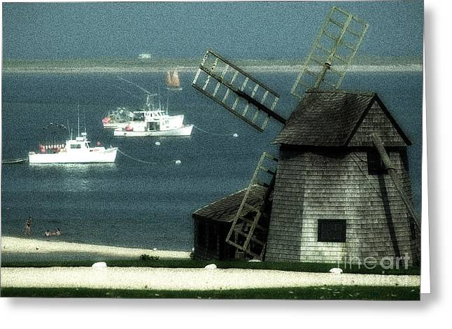 Fishing Boats And Windmill In Chatham On Cape Cod Massachusetts Greeting Card by Matt Suess
