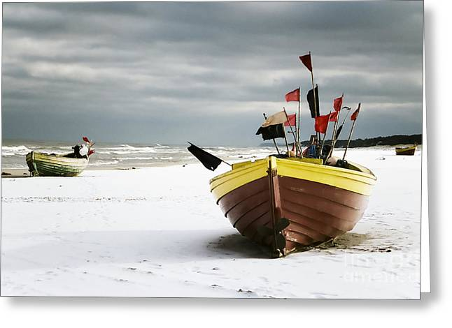 Fishing Boats At Snowy Beach Greeting Card