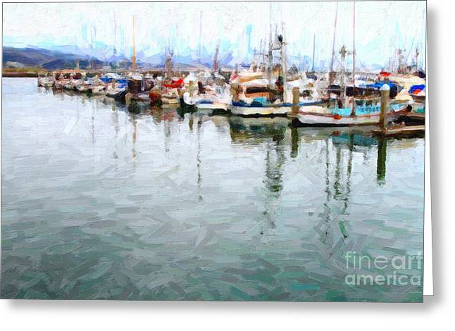 Fishing Boats At The Dock . 7d8187 Greeting Card by Wingsdomain Art and Photography