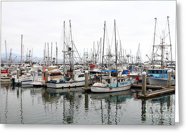 Fishing Boats In Pillar Point Harbor At Half Moon Bay California . 7d8189 Greeting Card