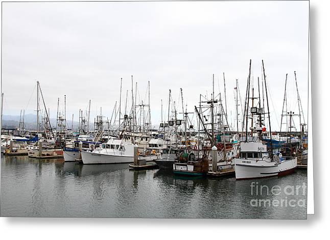 Fishing Boats In Pillar Point Harbor At Half Moon Bay California . 7d8196 Greeting Card