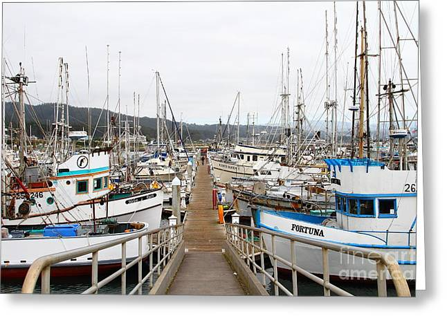 Fishing Boats In Pillar Point Harbor At Half Moon Bay California . 7d8202 Greeting Card