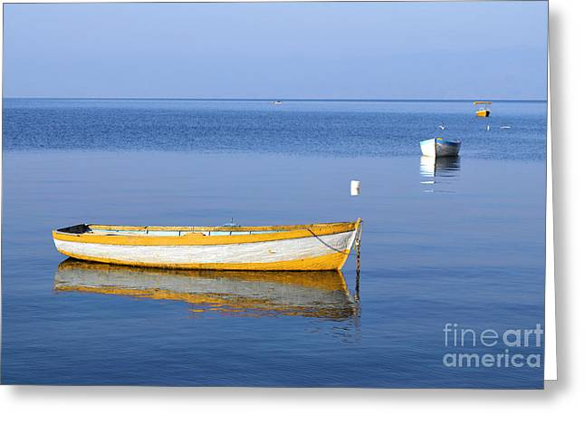 Fishing Boats Greeting Card by Marija Stojkovic