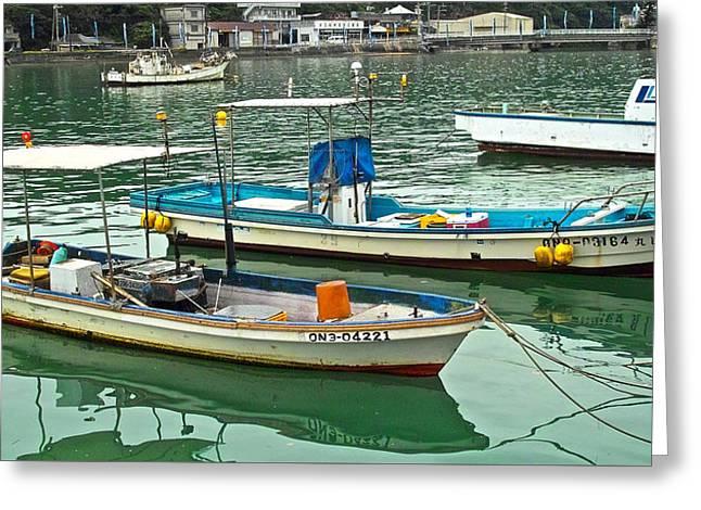 Fishing Boats - Okinawa Japan Greeting Card by Jocelyn Kahawai