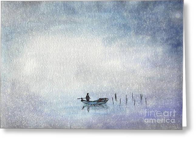 Fishing By Moonlight Greeting Card
