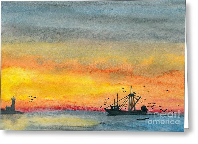 Fishing In The Evening  Greeting Card by R Kyllo