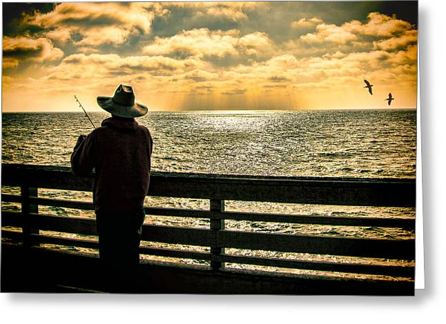 Fishing On A California Pier Greeting Card by Chris Lord