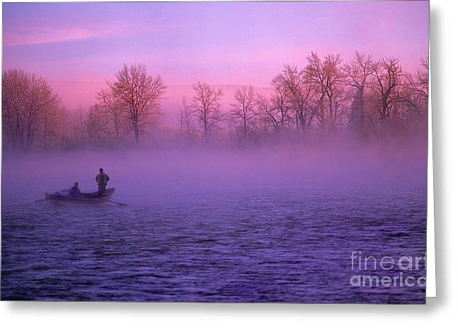 Fishing On The Bow Greeting Card by Bob Christopher