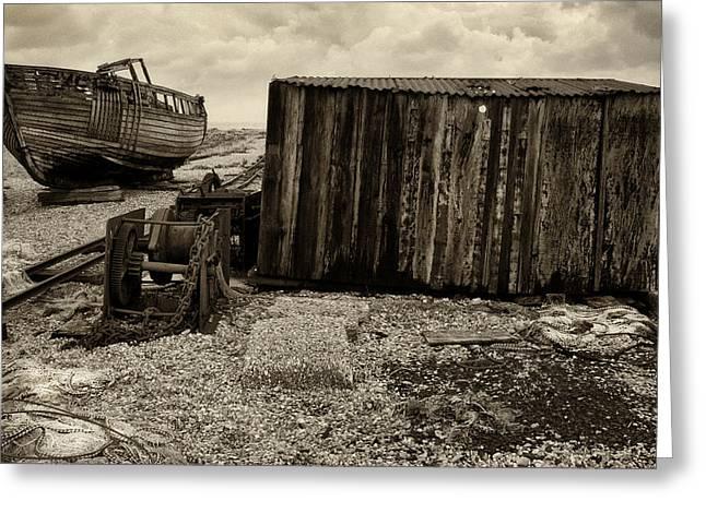 Fishing Remains At Dungeness Greeting Card by David Turner