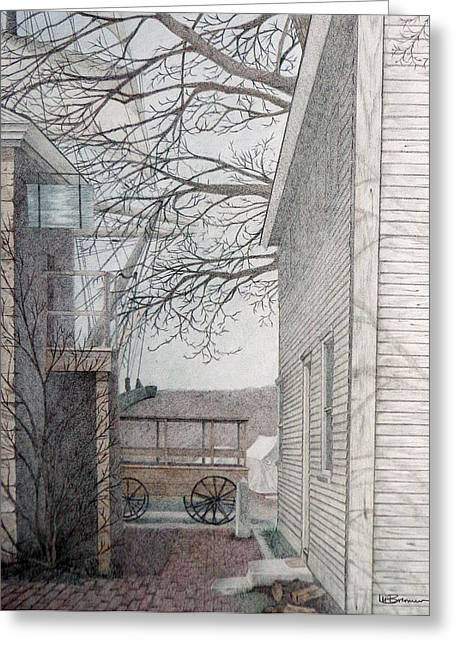 New England Village Drawings Greeting Cards - Fishing Village Greeting Card by Leslie M Browning
