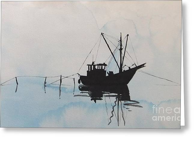 Fishingboat In Foggy Weather Greeting Card by Annemeet Hasidi- van der Leij