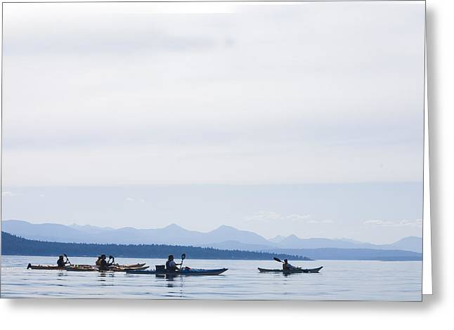 Five People Kayak In The Gulf Islands Greeting Card