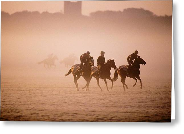 Five People Riding Thoroughbred Horses Greeting Card