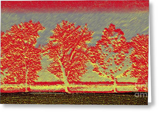 Five Trees Greeting Card by Silvie Kendall