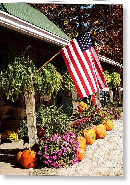 Flag Among The Pumpkins Greeting Card by Judith Lawhon