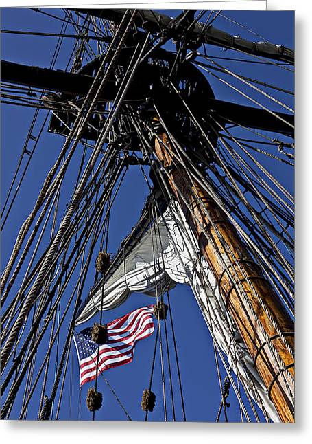 Flag In The Rigging Greeting Card
