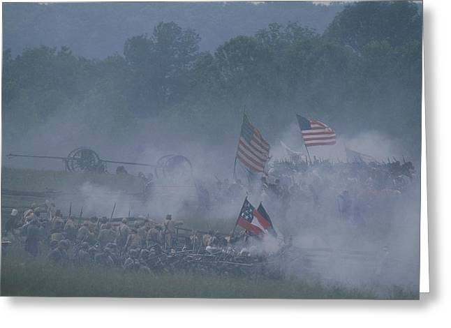 Flags, Soldiers, And Gun Smoke Greeting Card by Kenneth Garrett