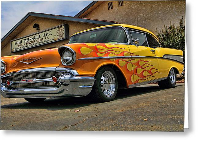 Flamed 57 Chevy Greeting Card by Fred Wilson