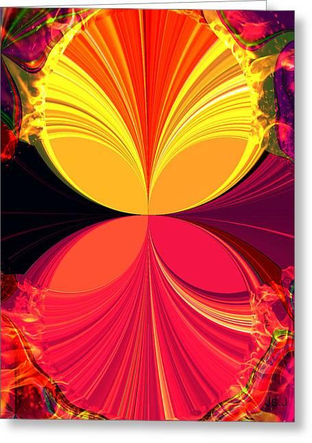 Flamed Greeting Card by Jan Steadman-Jackson
