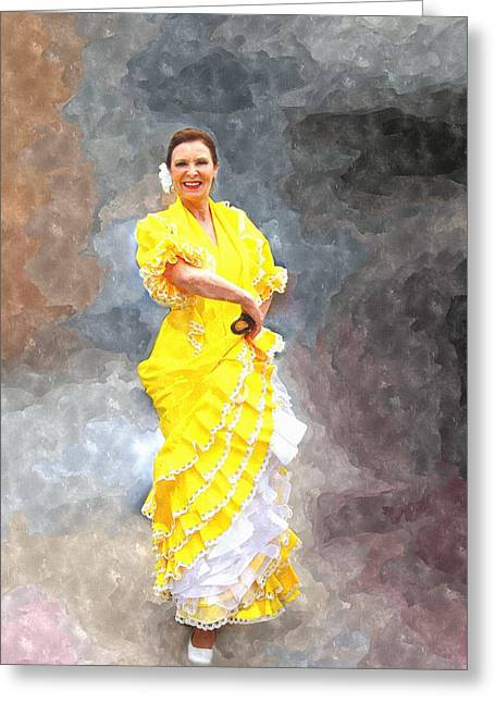 Greeting Card featuring the photograph Flamenco Dancer In Yellow by Davandra Cribbie