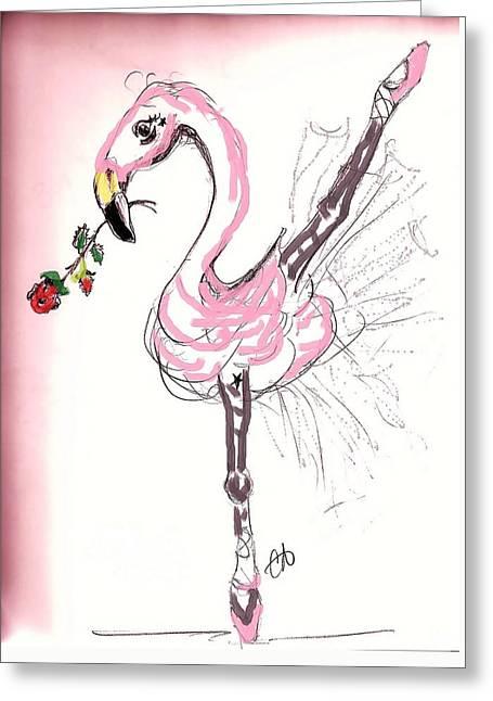 Flamenco Flamingo Greeting Card by Carol Allen Anfinsen