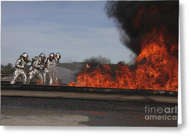 Flames Billow Out Of The Burn Pit Greeting Card by Stocktrek Images