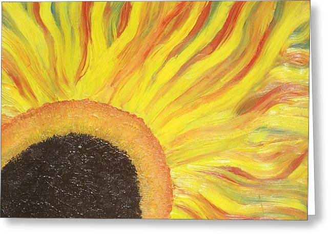 Greeting Card featuring the painting Flaming Sunflower by Margaret Harmon
