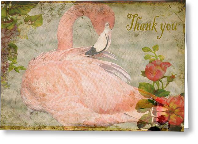 Flamingo And Roses Thank You Greeting Card