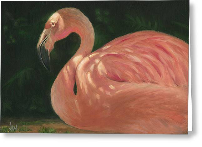 Greeting Card featuring the painting Flamingo In Dappled Light by Joe Winkler