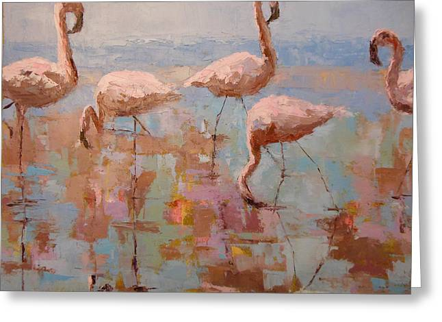 Flamingoes Greeting Card