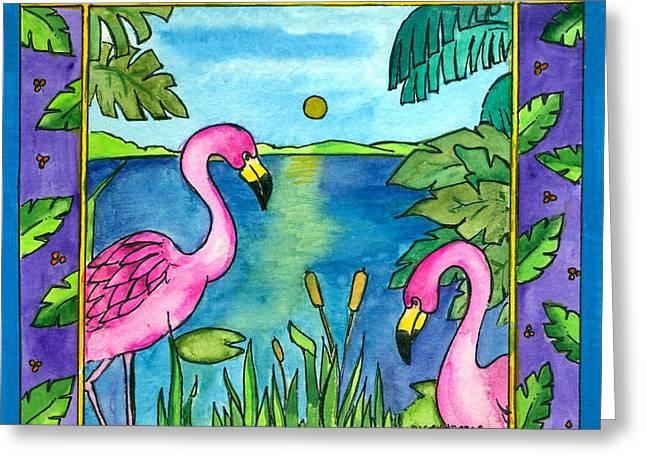 Flamingos Greeting Card by Pamela  Corwin