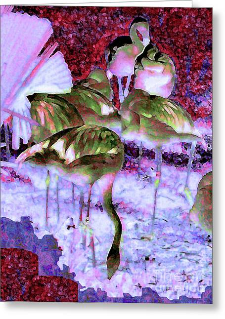 Greeting Card featuring the painting Flamingotasia by Elinor Mavor