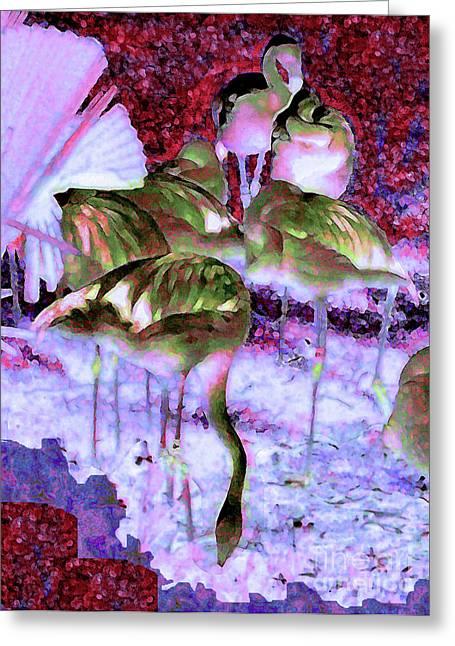 Flamingotasia Greeting Card by Elinor Mavor