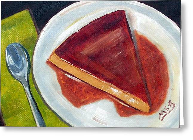 Flan Oil Painting Greeting Card by Maria Soto Robbins