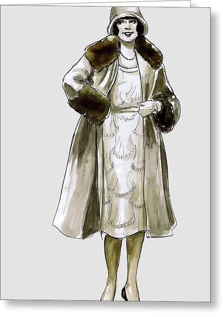 Flapper Fur Coat Greeting Card by Mel Thompson