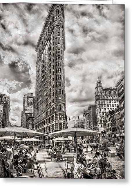 Greeting Card featuring the photograph Flatiron Building Hdr by Steve Zimic