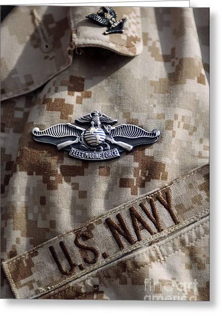 Fleet Marine Force Warfare Device Pin Greeting Card by Stocktrek Images