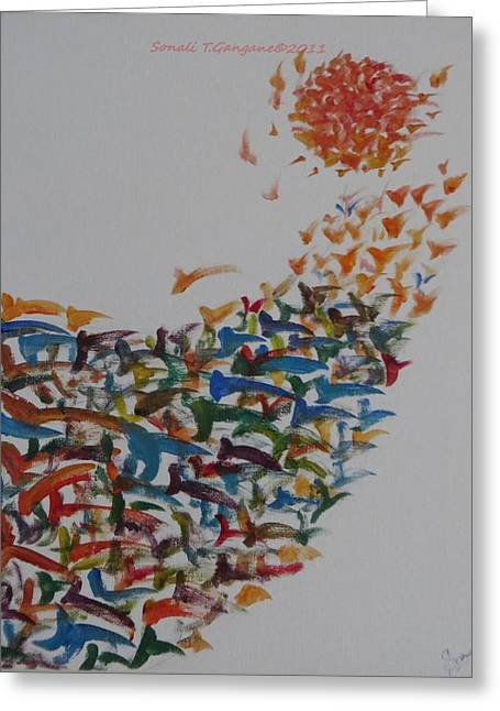 Greeting Card featuring the painting Fleet Of Birds by Sonali Gangane